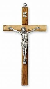 Wall Hanging Crucifix Cross with Silver Metal Corpus Religious Ornament